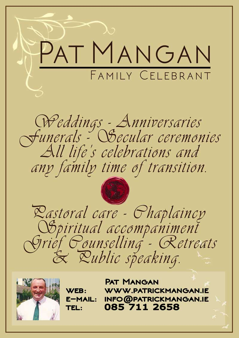 Patrick Mangan Secular and Sacred Celebrant in Galway