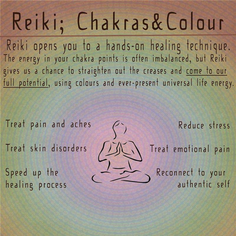 A Poster outling the services offfered by Mary Queeney of Healing earth Regarding Reiki, Chakras and Colour